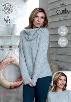 6a84af613038 Knitted cowl neck jumper pattern Authentic chunky. Soft marl shade - King  Cole Jumper Patterns