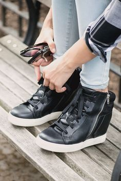 Exposed side zip. Hidden wedge. Sleek (faux) leather construction. This Candie's high top shoe has style in spades. Pair it with your favorite skinnies for an elevated look. Find your fall style at Kohl's.