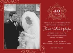 Ruby Wedding Anniversary invitation for a very special couple ...
