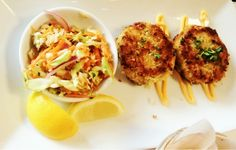 #Crab Cakes with Coleslaw