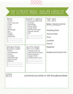 Oh One Fine Day: ULTIMATE BRIDAL SHOWER CHECKLIST