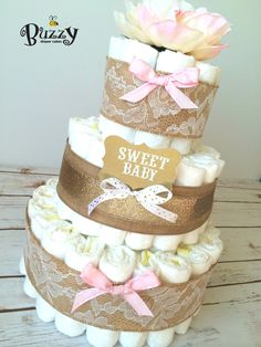 Shabby Chic Pink and Gold Diaper Cake, Pink and Gold Baby Shower, Elegant Diaper…