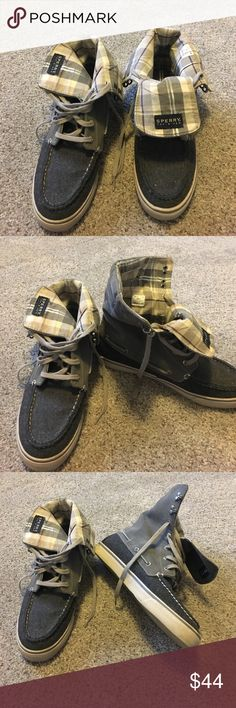 Sperry short boot/tennis shoe Sperry short boot/tennis shoe. Dark gray with plaid on inside. Can be folded down to look like a cuff Sperry Top-Sider Shoes Sneakers
