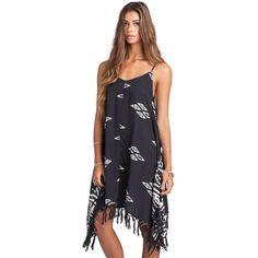 Billabong Juniors' Sunlit Summer Woven Dress ($25) ❤ liked on Polyvore featuring dresses, handkerchief hem dress, blue pattern dress, woven dress, summer print dresses and billabong dress