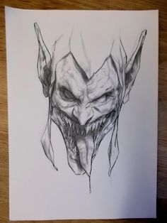 A lot of people have asked about the process on the headshots, most started off as ink lines on paper. Take a photo and colour in photoshop. Demon Drawings, Badass Drawings, Creepy Drawings, Dark Art Drawings, Art Drawings Sketches, Pencil Art Drawings, Zombie Drawings, Dark Art Tattoo, Body Art Tattoos