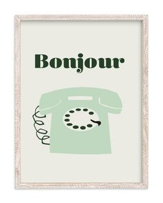 """french phone"" - Limited Edition Art Print by Morgan Kendall in beautiful frame options and a variety of sizes."