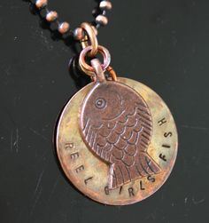 Copper Reel Girls Fish Necklace/Pendant by copperlocket on Etsy, $17.99  Cute!