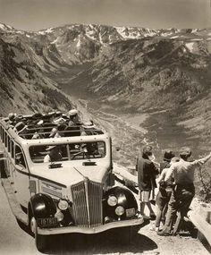 Yellowstone Bus on Beartooth Highway circa 1938 . Hotels Near Yellowstone, Yellowstone National Park, National Parks, Red Lodge Montana, Beartooth Highway, Wyoming State, Northwest Territories, Travel Memories, Historical Photos