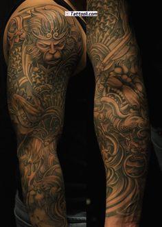 Chronic Ink Tattoo Toronto Tattoo - Monkey king and foo dog full sleeve by BKS Asian Tattoos, Dope Tattoos, Great Tattoos, Body Art Tattoos, Arm Tattoos, Tatoos, Japanese Sleeve Tattoos, Full Sleeve Tattoos, Tattoo Sleeve Designs