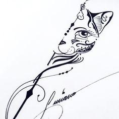 Tattoo Sun Tattoos, Trendy Tattoos, Tribal Tattoos, Small Tattoos, Girl Tattoos, Geometric Cat Tattoo, Yoga Tattoos, Tatoos, Cat Tattoo Designs