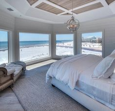 All white bedroom with whitewashed hardwood floors, reclaimed wood ceiling, white shiplap wall paneling. All white bedroom with whitewashed hardwood floors, reclaimed wood ceiling, white shiplap wall paneling. Beach House Bedroom, Beach House Decor, Home Bedroom, Bedroom Ideas, Beach House Interiors, Master Bedroom, Bedroom Interiors, Cottage Interiors, Beach Houses For Sale