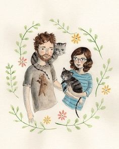 Couple with cats