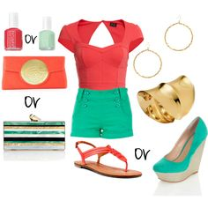 """""""Mint or Coral"""" by likaschaaf on Polyvore"""