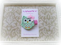 Owl Hair Clip Aqua Mint and Pink Owl Hair Clip Girls by Diddlebugs