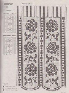 Filetgardinen - Filet crochet lace curtain pattern
