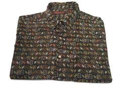 Tori Richard XL Floral Leaves Print Multi-Color Men's Short Sleeve Cotton Lawn #ToriRichard #ButtonFront