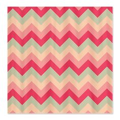 Pink and Green ZigZag Shower Curtain