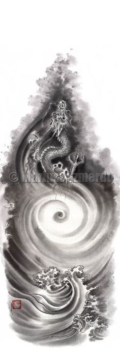Original japanese sumi-e handmade art DRAGON SKY MOUNTAINS water ink painting artist Mariusz Szmerdt watercolor black white grey