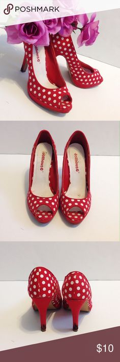 Dollhouse PinUp red polka dotted heels sz 6.5 Dollhouse red pinup heels. Sz 6.5. Red with white dots, insoles are slightly coming up, didn't affect me when wearing but can be fixed very easily :) Dollhouse Shoes Heels
