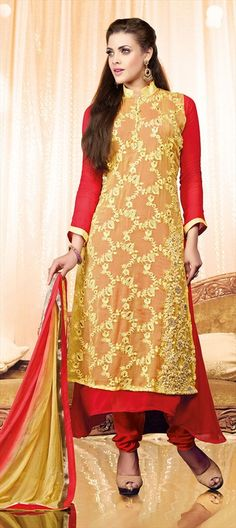 RED & YELLOW together remind us of a sunny afternoon - Wear this style in day parties!  #Partywear #Bride #wedding #weddingcouture #indianwedding #Salwarkameez #Indianfashion #lace #sheer