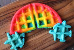 Rainbow waffle with waffle clouds