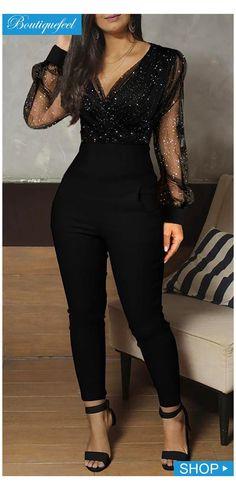 Stylish Dresses, Elegant Dresses, Women's Fashion Dresses, Dress Outfits, Formal Jumpsuit, Jumpsuit Dress, Black Jumpsuit Outfit, Elegant Jumpsuit, Classy Dress