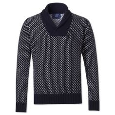 Navy & cream birdseye shawl collar jumper | Men's knitwear from Charles Tyrwhitt | CTShirts.com