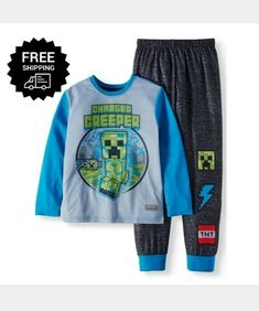 2e7816aa31 Boys Minecraft Creeper 2-Piece Pajama Sleep Set New Size 4/5 for Boys