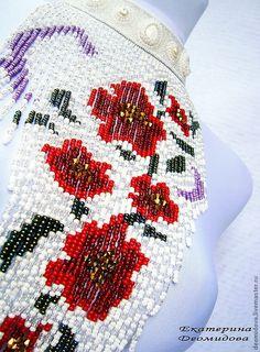 """Купить колье """"Магия Цветов"""" - цветы, колье с цветами, красные цветы, колье с бахромой"""