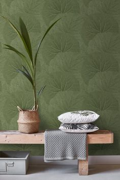 Adorn your walls with this beautiful exotic print with monstera leaves in mint green and create your own urban jungle. The tropical botanical look is all about natural materials, the combination of neutral colours with shades of green, like olive, mint or Paper Wallpaper, Vinyl Wallpaper, Trendy Wallpaper, Colorful Wallpaper, Room Wallpaper, Wallpaper Ideas, Olive Green Curtains, Olive Green Walls, Olive Green Wallpaper
