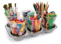 Organize the kiddos art station with a muffin tin and plastic cups. They'll be able to be more creative and have more fun knowing where everything is.