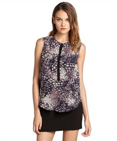 Rebecca Taylor plum and violet silk feather printed pocketed sleeveless blouse