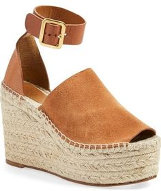 Chloé 'Isa' Espadrille Wedge Sandal - Chloé takes the espadrille to new heights with the Isa sandal, featuring a two-piece, open toe design and a flattering ankle strap set off by sleek hardware. A lofty jute-wrapped platform heel completes the standout look