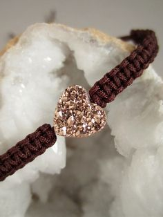 Rose Gold Druzy Heart Bracelet Drusy Quartz by julianneblumlo, $50.00
