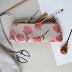 Linen pencils case with handprinted magnolia pattern. Pouch, Wallet, Fern, Textile Design, Magnolia, All Things, Pencil, Textiles, Printed