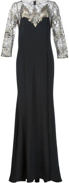 Marchesa Notte sheer panel gown