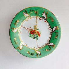 Green Gold with Orange Flowers Plate Kitchen by LaviniasTeaParty