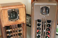 Old vintage radios repurposed into wine racks
