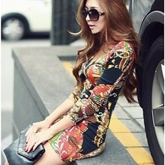 Women's Sexy/Bodycon/Casual/Party V-Neck Long Sleeve Dresses (Cotton Blend) – USD $ 4.99
