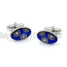 oval shape blue enameled with yellow flower cuff link, sterling silver & brass cufflink accessory jewellery OACL0460 mens silver fashion accessory cuff links