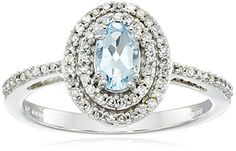 10K White Gold Aquamarine Oval with Diamond Ring Size 6 * You can find out more details at the link of the image.