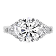 3.03 carat Round Brilliant Diamond Engagement Ring | From a unique collection of vintage engagement rings at http://www.1stdibs.com/jewelry/rings/engagement-rings/