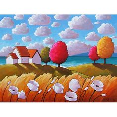 """Fine Art Print Giclee by Cathy Horvath 8.5""""x11"""" Modern Folk White Flowers Coastal Seaside Summer Cottage Trees, Reproduction Seacape Artwork"""