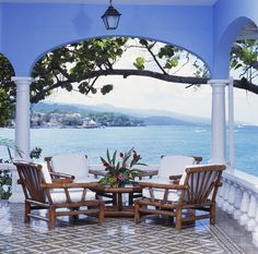 Lounge overlooking the Caribbean Sea in the White Suite's outdoor seating area at Jamaica Inn. http://jamaicainn.com/accommodation.php