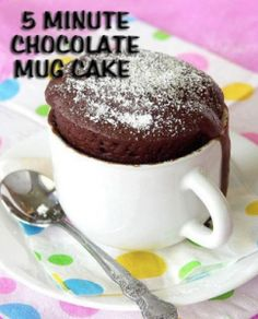 Chocolate Cake in a Mug (microwave, single serving) #saved