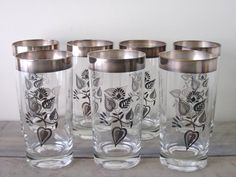 Georges Briard Silver Trim Highball Cocktail Glasses