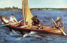 "Eero Järnefelt (Finnish artist), ""On the Lake"" Chur, North Europe, European Paintings, Nautical Art, Sea Art, Small Boats, Helsinki, Art History, Watercolor Art"