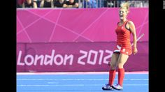Georgie Twigg of Britian celebrates during bronze medal hockey match vs new zealand. Brits won 3-1.
