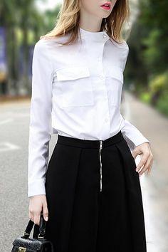 Elegant Long Sleeve Stand Collar White Blouse For Women