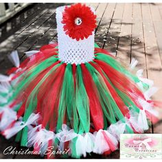 Tulle - $35.00 Age 0 to 2 Christmas Spirit Tutu Dress or Skirt by carmenscreations on Handmade Australia